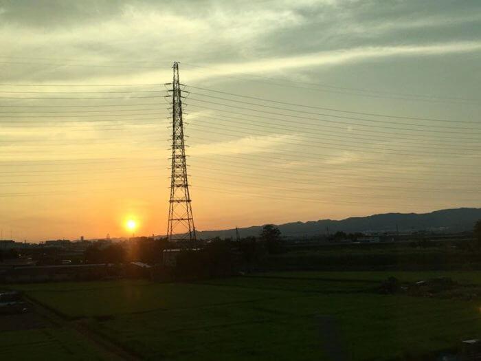 新幹線からの夕焼け