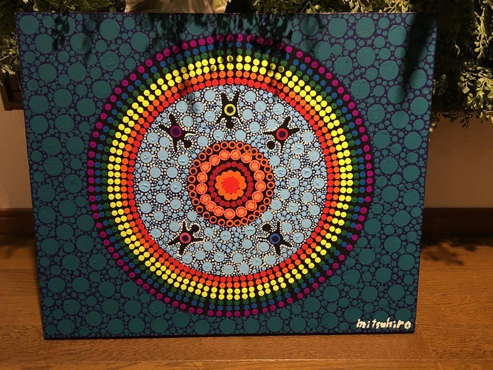 アボリジニアートの点画教室での作品